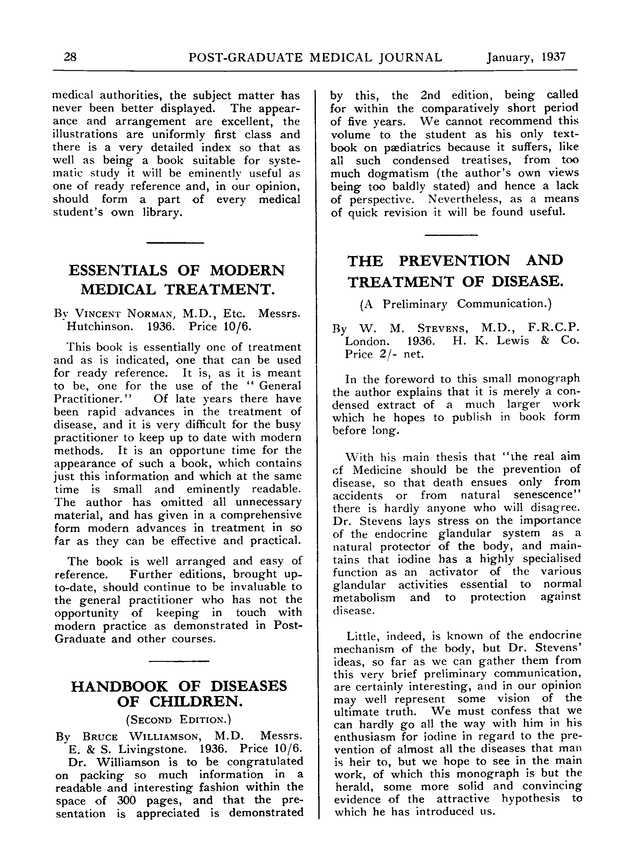 The Prevention And Treatment Of Disease A Preliminary
