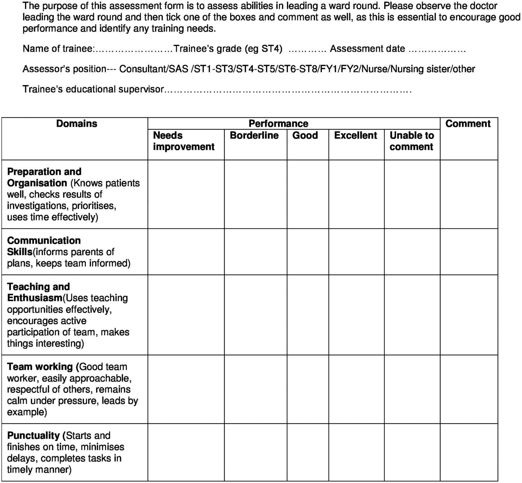 A Multisource Feedback Tool To Assess Ward Round Leadership Skills
